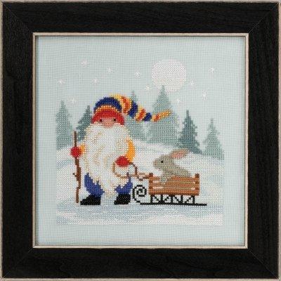 Sledding Gnome counted cross stitch kit