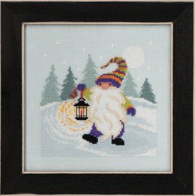 Hiking Gnome counted cross stitch kit