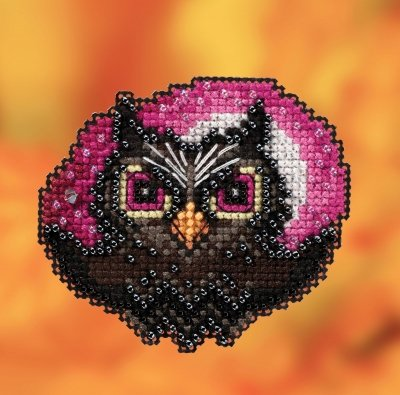 Moonlit Owl counted cross stitch ornament kit