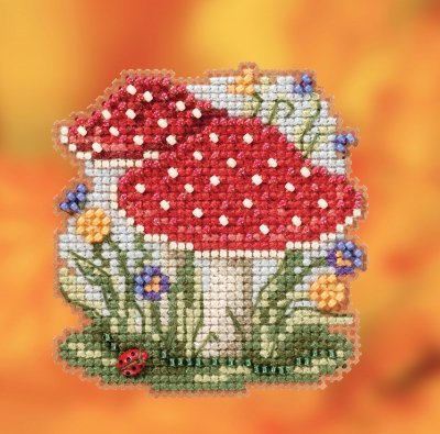 Red Cap Mushroom counted cross stitch ornament kit