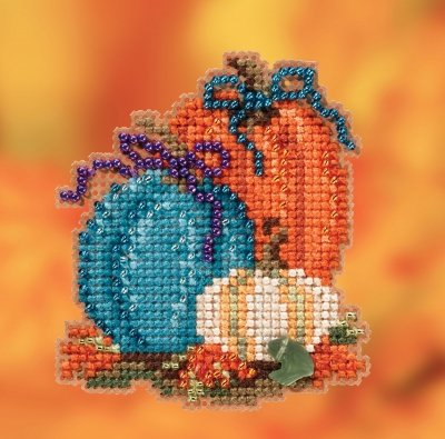 Pumpkin Trio counted cross stitch ornament kit
