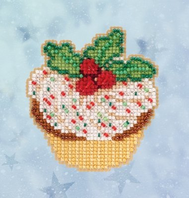 Holly Cupcake counted cross stitch ornament kit