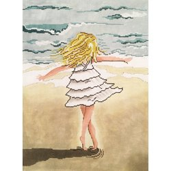 Girl Twirling on the Beach - Patti Mann/Rose Hill Designs 20019 - 18 mesh, 9 x 12