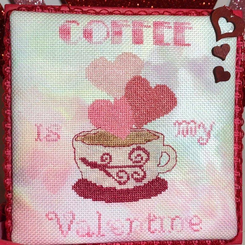Barefoot I Heart Coffee Cross Stitch Pattern