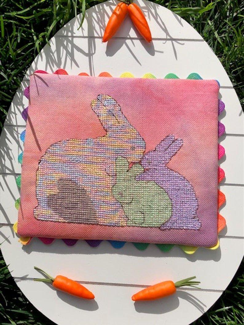 Barefoot Bunny Loves you Cross Stitch Pattern