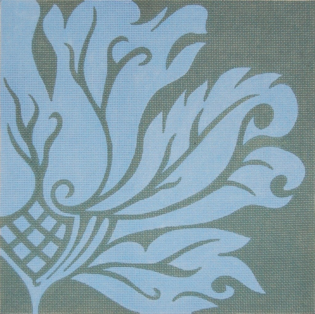 PS12 FLORA BLUE ON GRAY