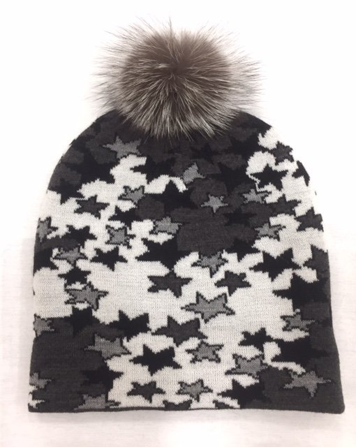 Allover Star Hat with Pom