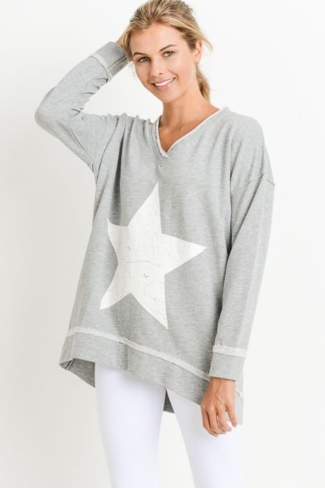 Antiqued Star V Neck Sweatshirt