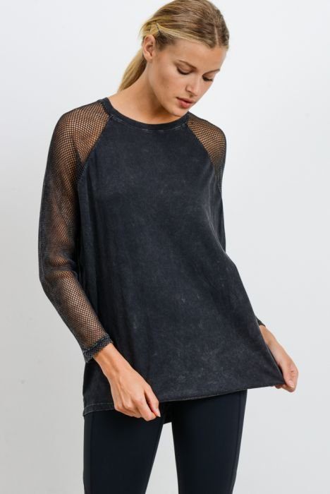 Fishnet Mineral Wash Combo Long Sleeve Tee