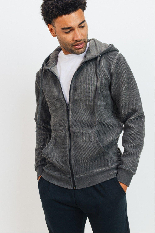 Men's Textured Zip Hoodie