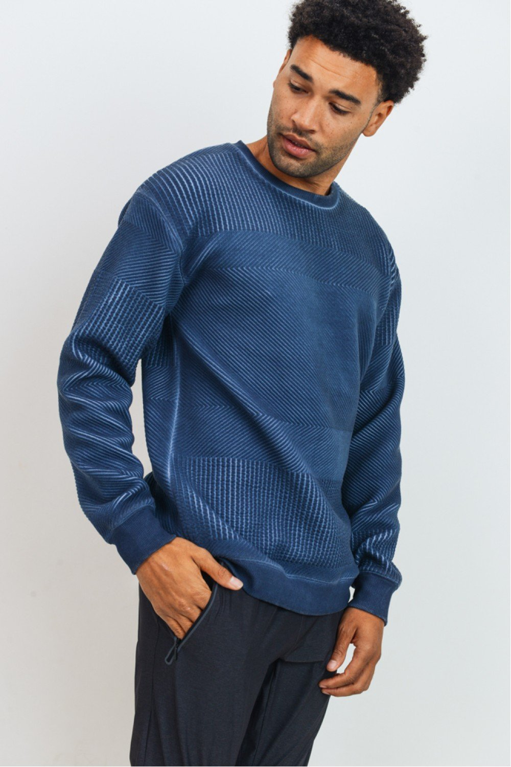 Mens Textured Pullover Sweatshirt