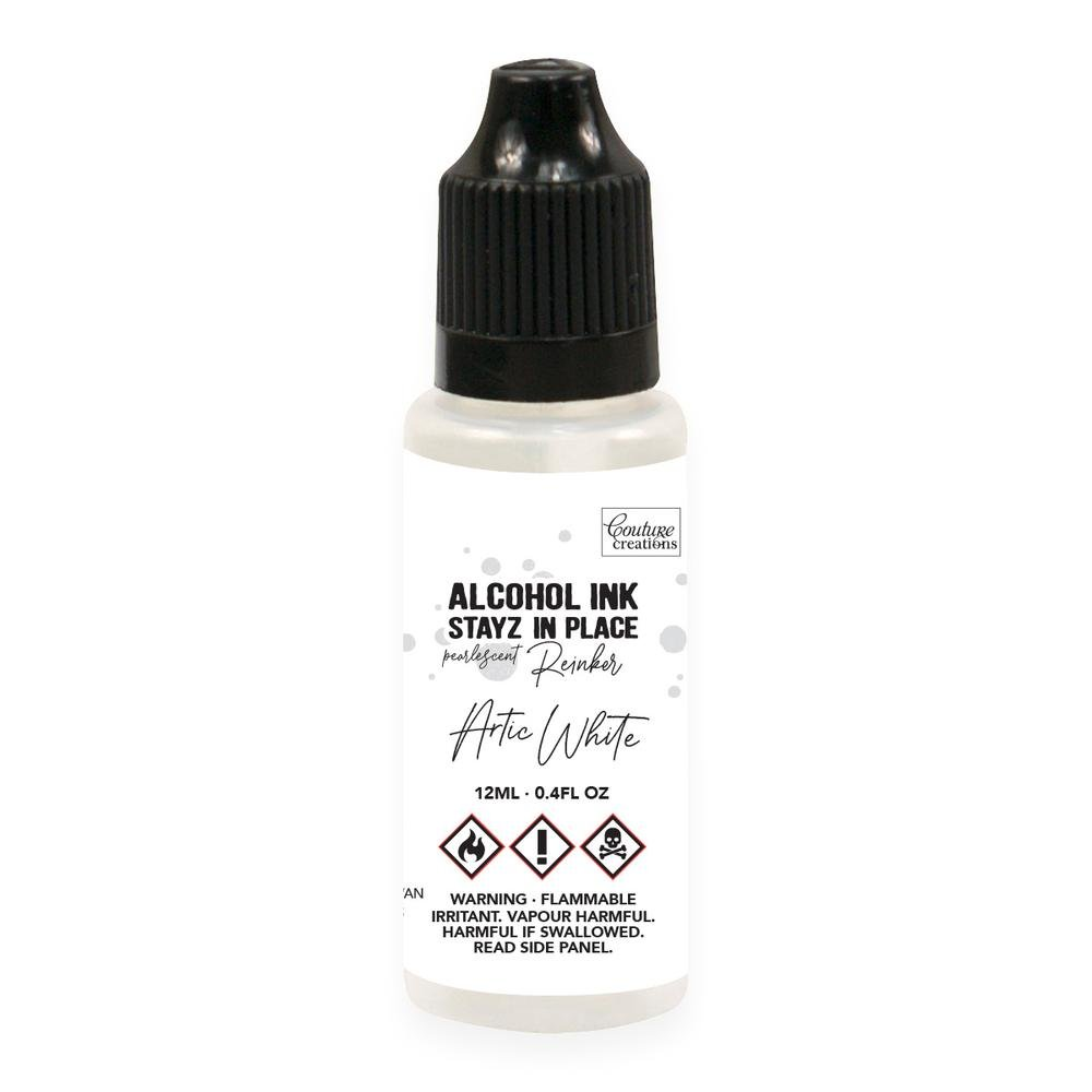 Couture Creations Stayz in Place Alcohol Ink Pad 12ml Reinker - Arctic White Pearlescent