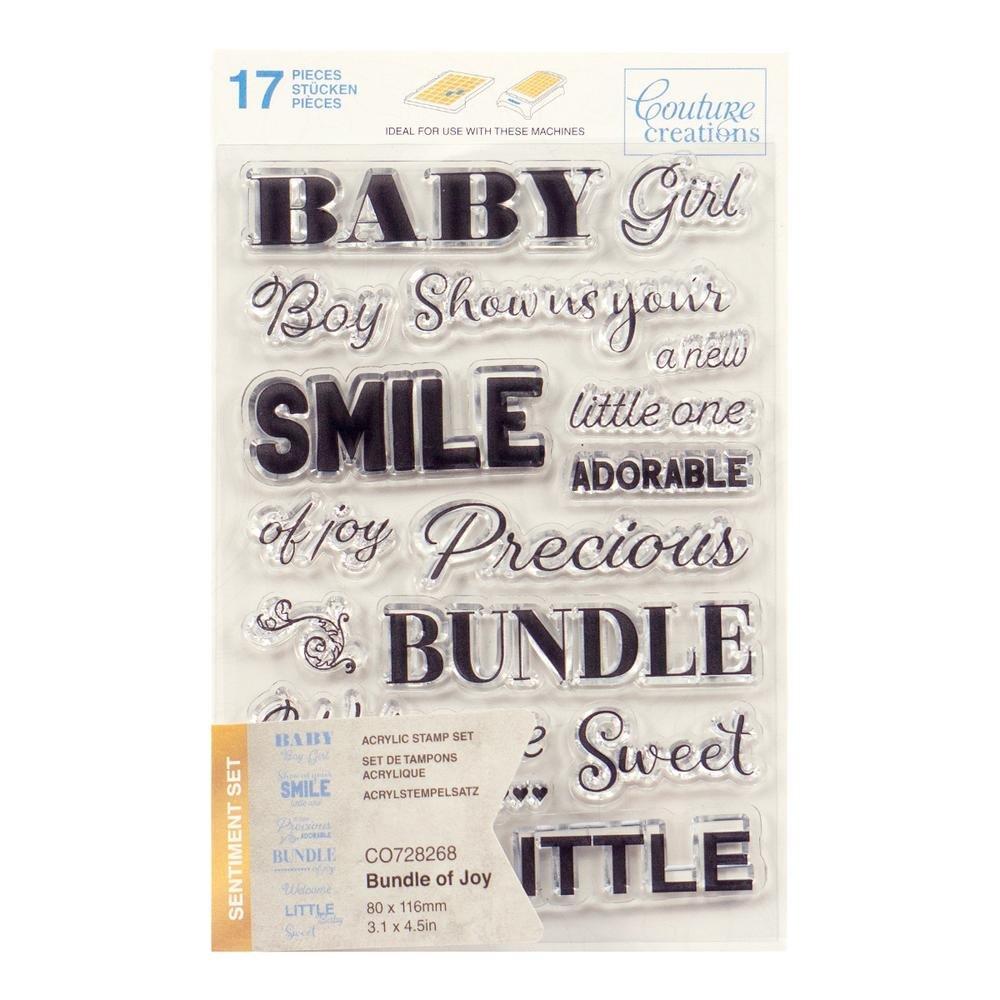 Couture Creations Stamp Set - Bundle of Joy Sentiment (17pc) - 80 x 116mm
