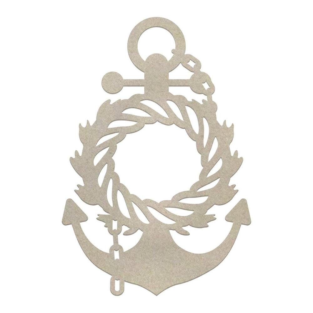 Chipboard - SM - Wreathed Anchor - Seaside & Me