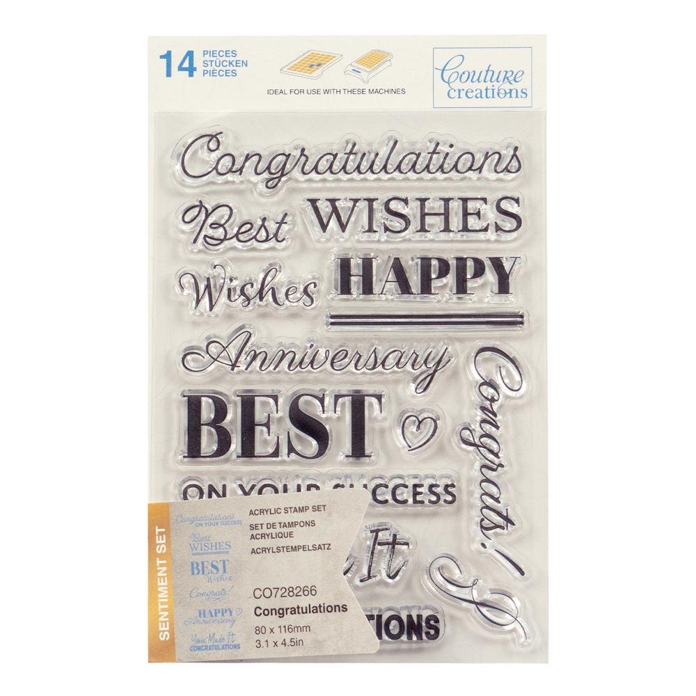 Couture Creations Stamp Set - Congratulations Sentiment (14pc) - 80 x 116mm