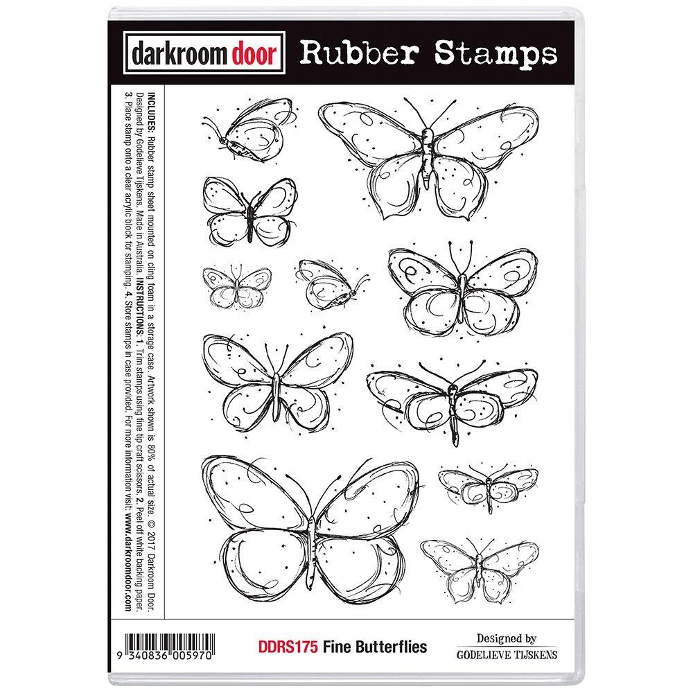 Darkroom Door Rubber Stamps - Fine Butterflies