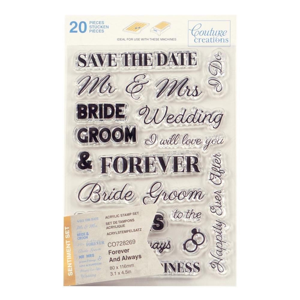 Couture Creations Stamp Set - Forever and Always Sentiment (20pc) - 80 x 116mm