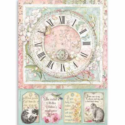 Stamperia A4 Rice Paper - Clock