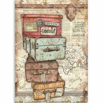 Stamperia A4 Rice Paper - Lady Vagabond luggage