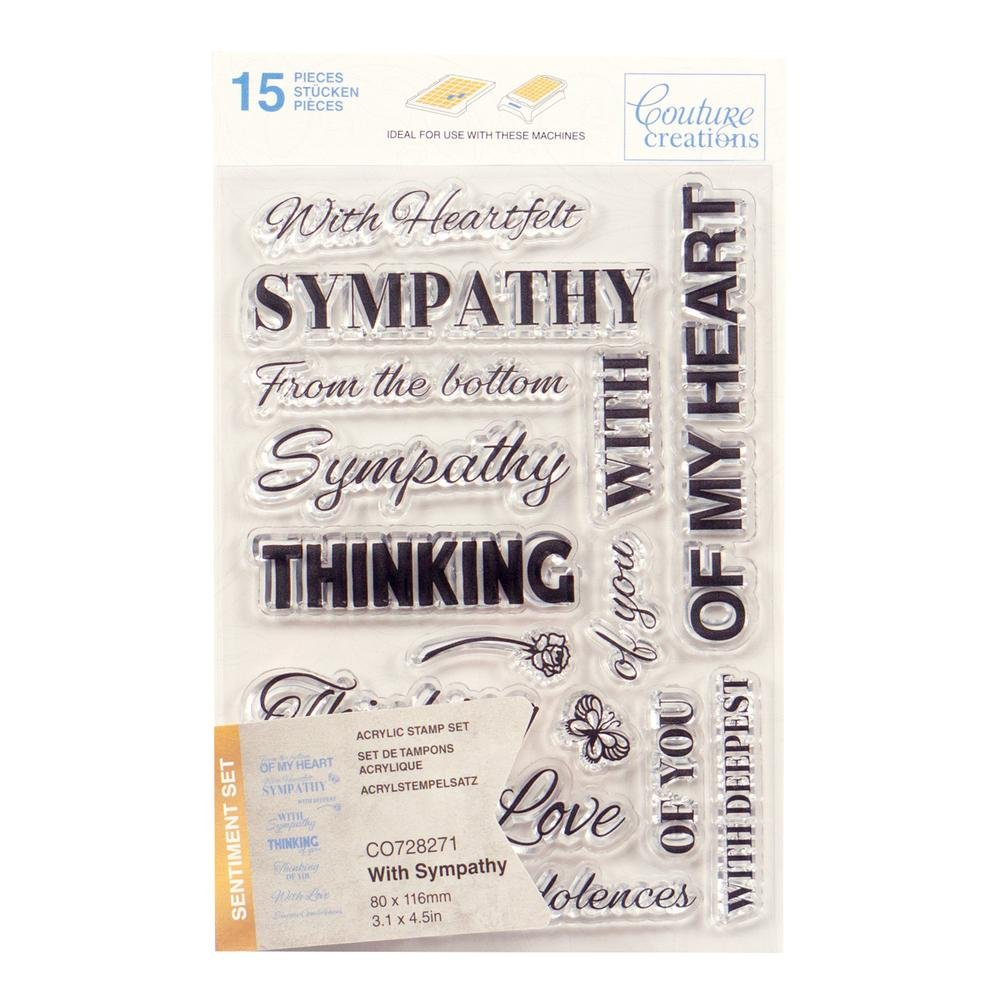 Couture Creations Stamp Set - With Sympathy Sentiment (15pc) - 80 x 116mm
