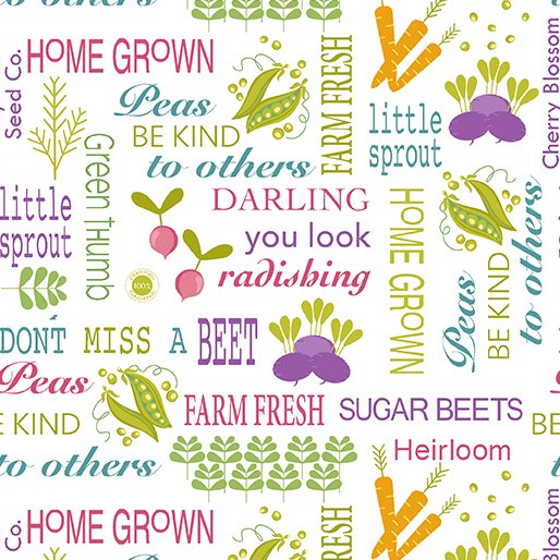 Fat Quarter WORDS OF SEED WHITE Planted With Love 18 x 22 fabric