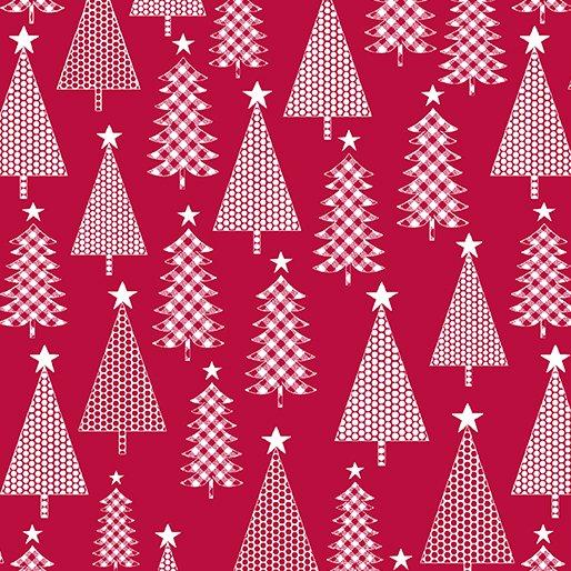 Fat Quarter JOY TREES RED Joy 18 x 22 fabric