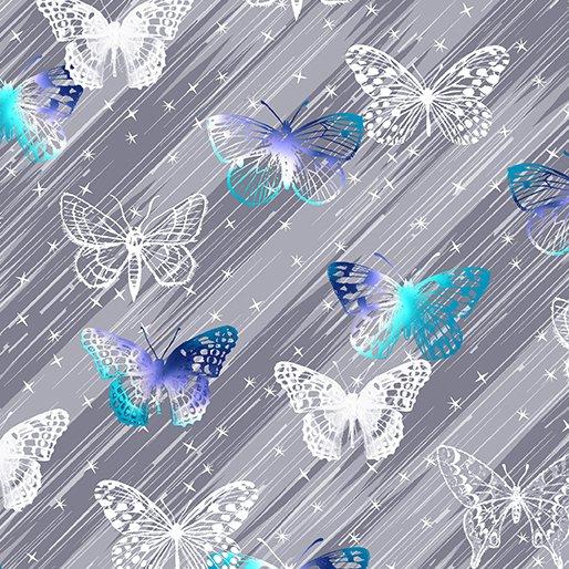 Fat Quarter BUTTERFLY TWINKLE GRAY Social Butterfly 18 x 22 fabric