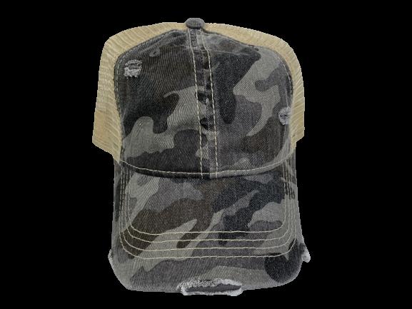 PonyCaps Grey Camouflage Hat