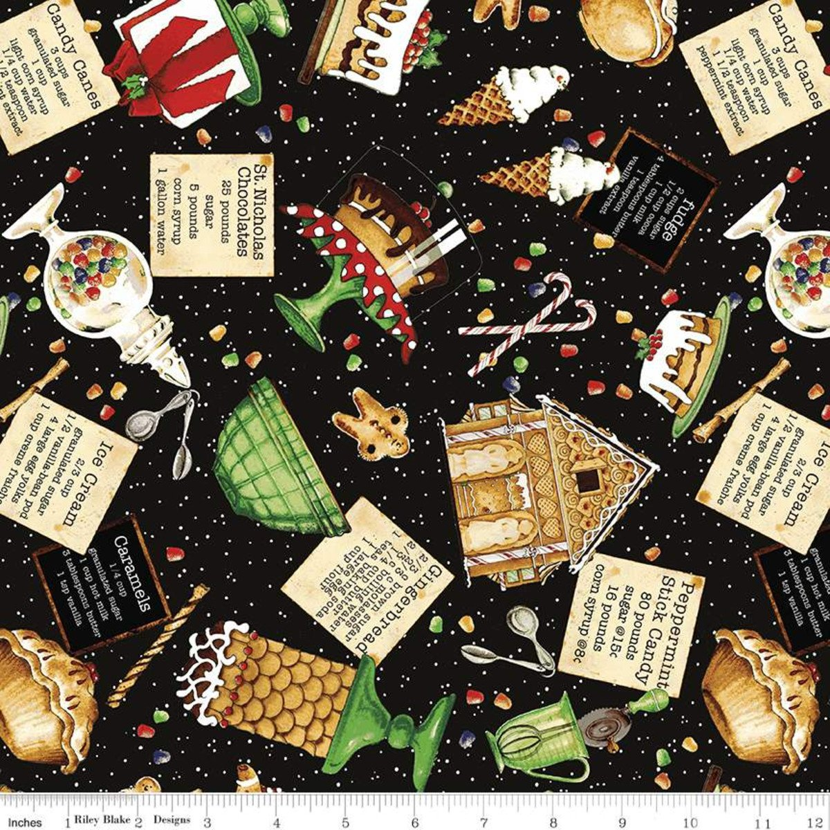Snow Sweet SWEETS TOSS CHARCOAL Fat Quarters 18 x 22 in