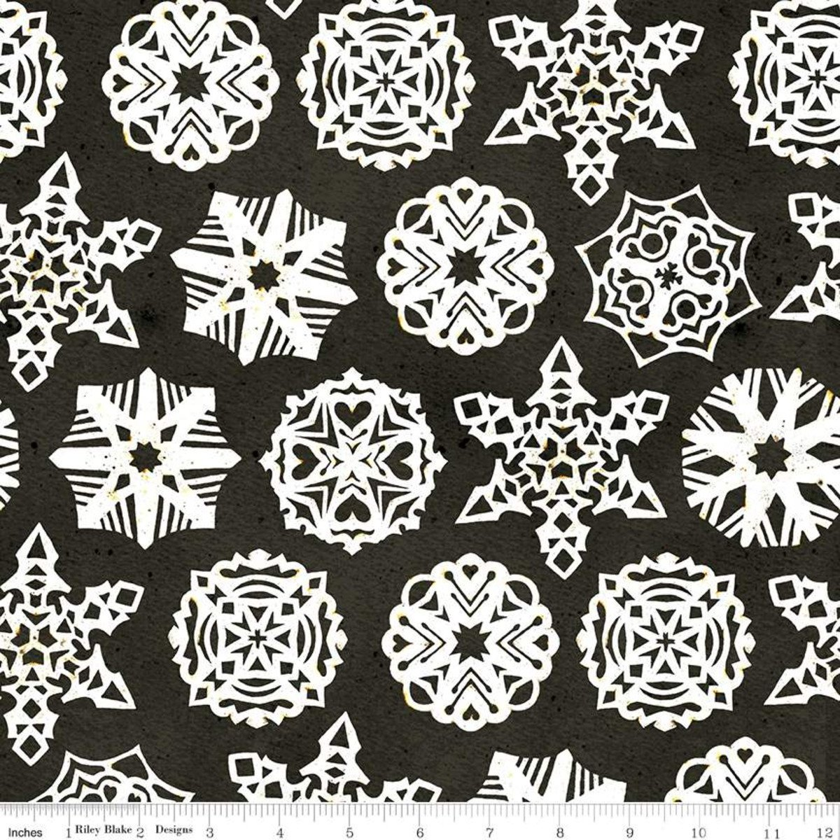 Snow Sweet PAPER SNOWFLAKES CHARCOAL Fat Quarters 18 x 22 in