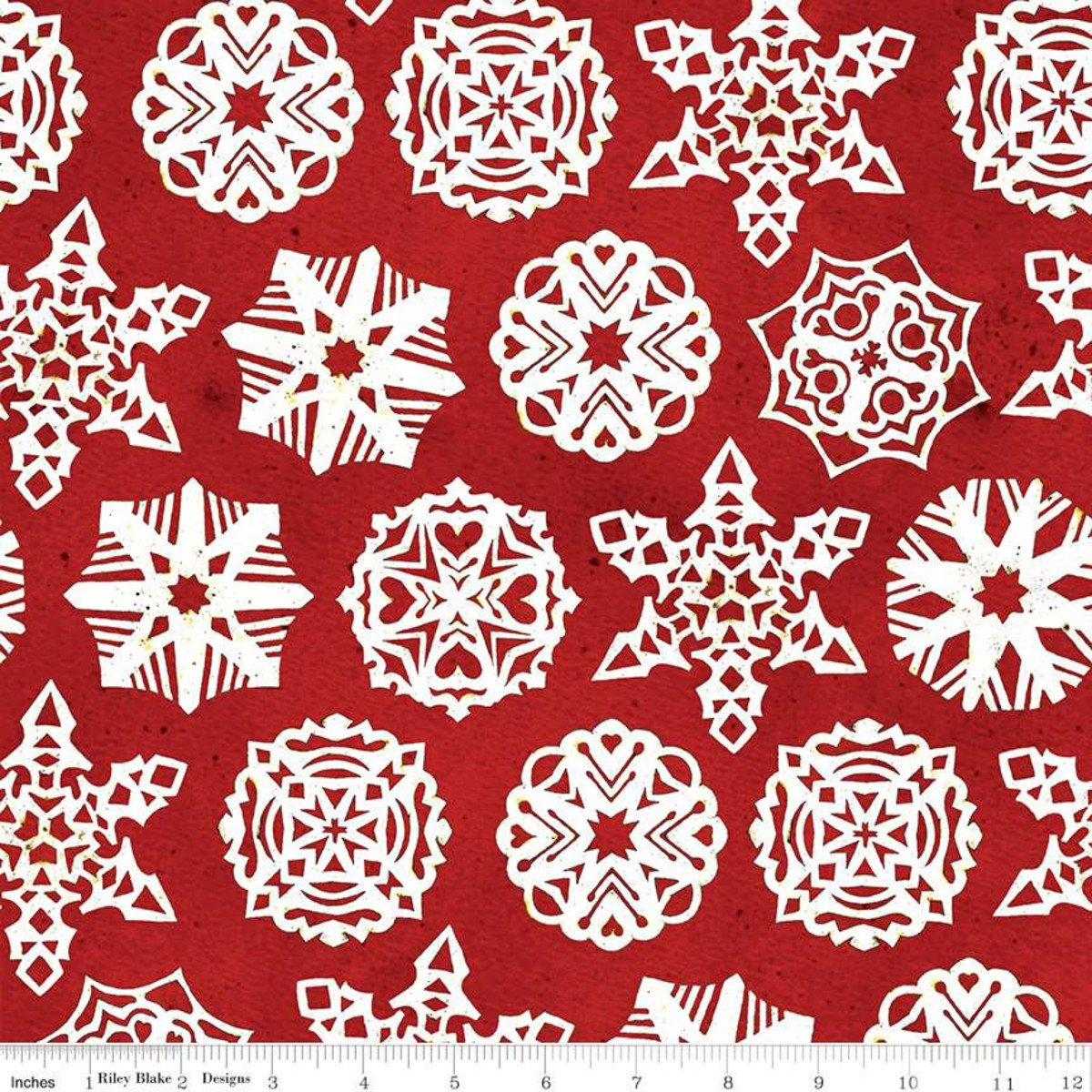 Snow Sweet PAPER SNOWFLAKES RED Fat Quarters 18 x 22 in