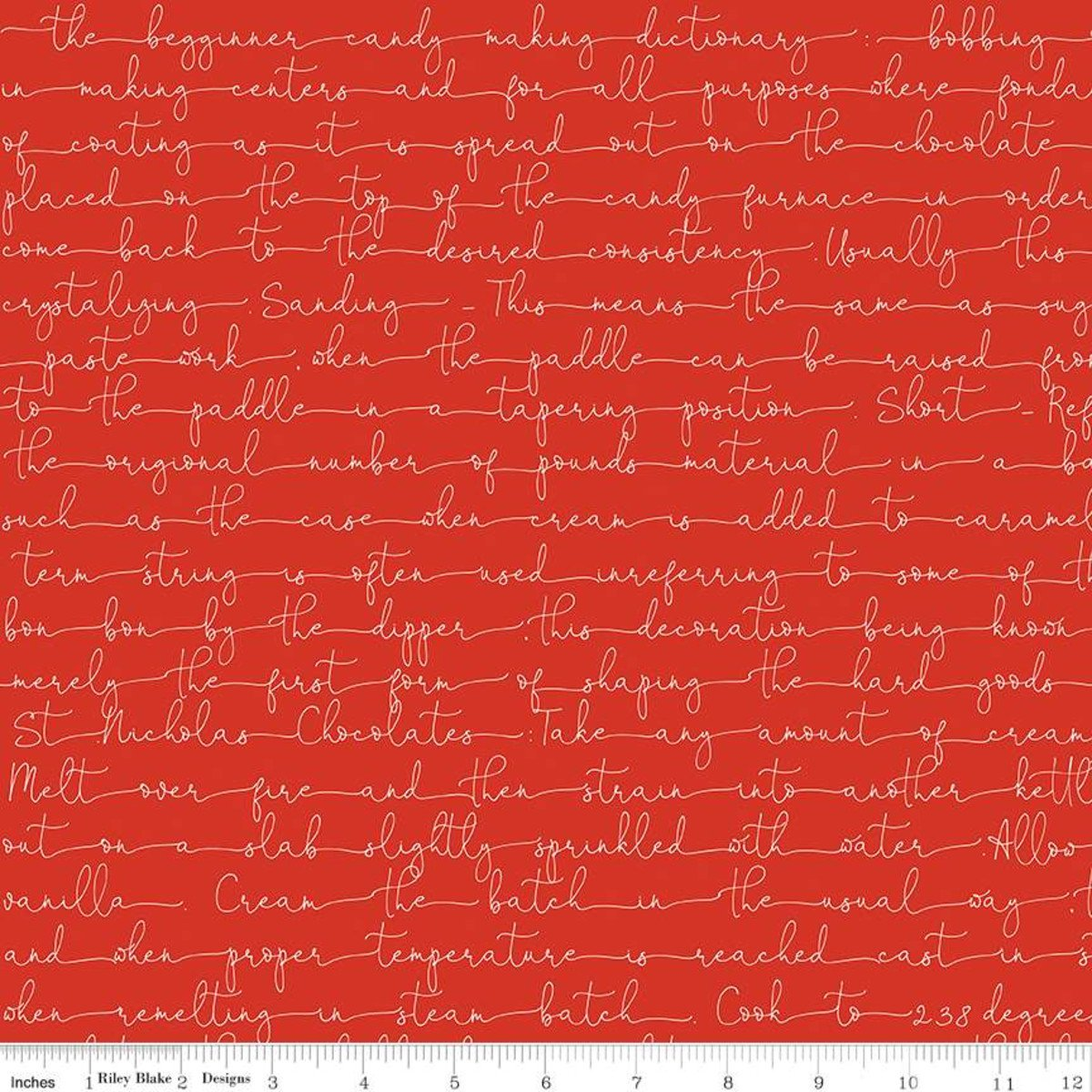 Snow Sweet CANDY MAKING TEXT RED Fat Quarters 18 x 22 in