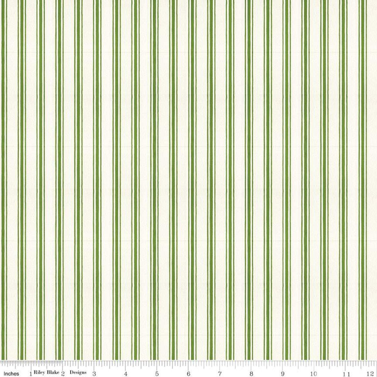 Snow Sweet CANDY CANE TICKING STRIPE GREEN Fat Quarters 18 x 22 in