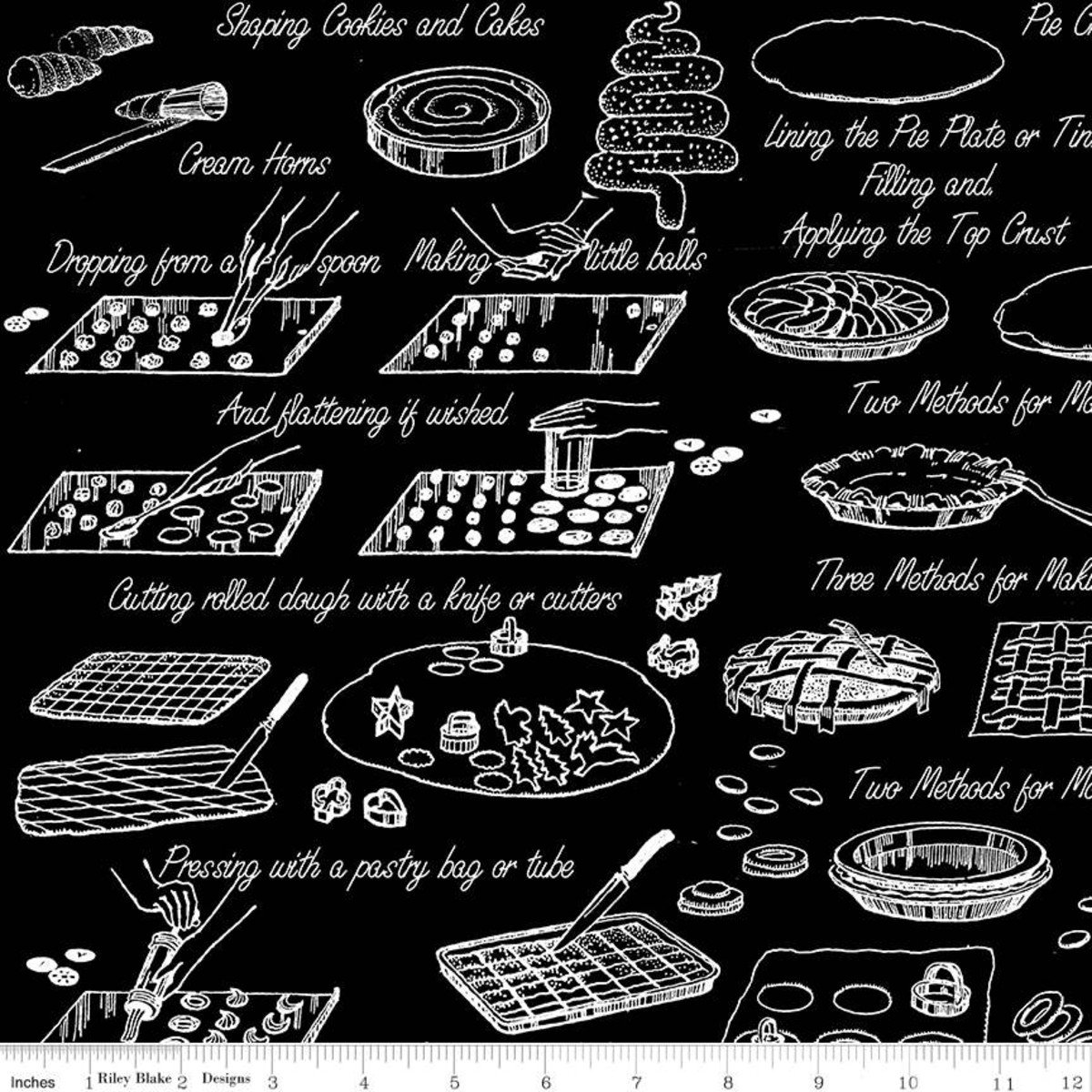 Snow Sweet COOK BOOK BLACK Fat Quarters 18 x 22 in