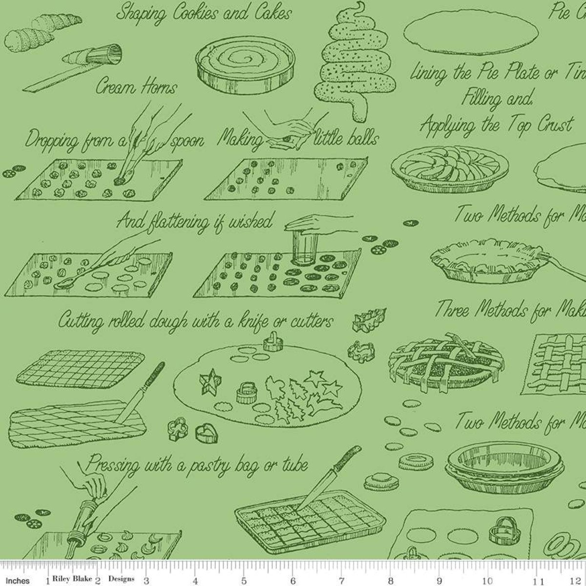 Snow Sweet COOK BOOK GREEN Fat Quarters 18 x 22 in