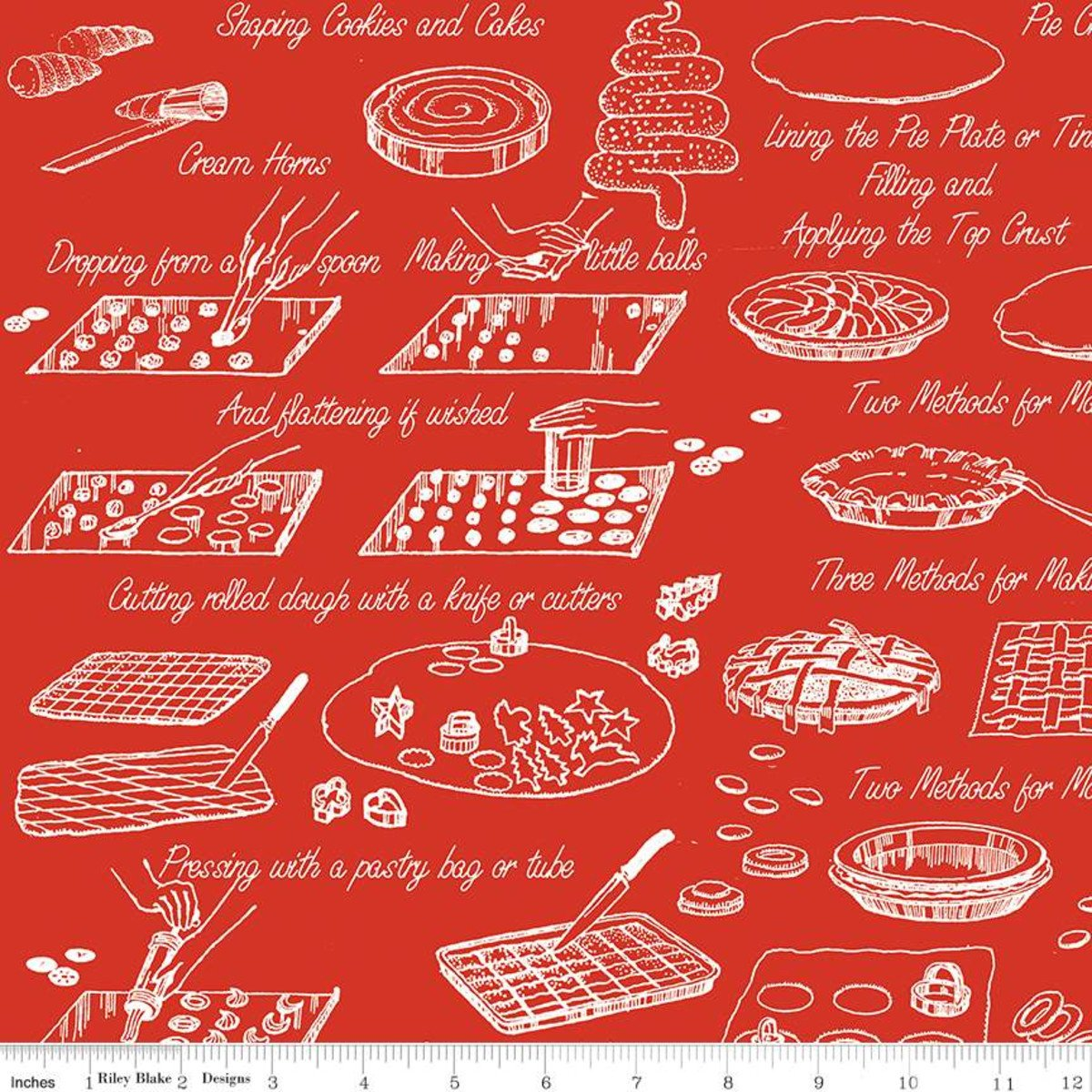 Snow Sweet COOK BOOK RED Fat Quarters 18 x 22 in