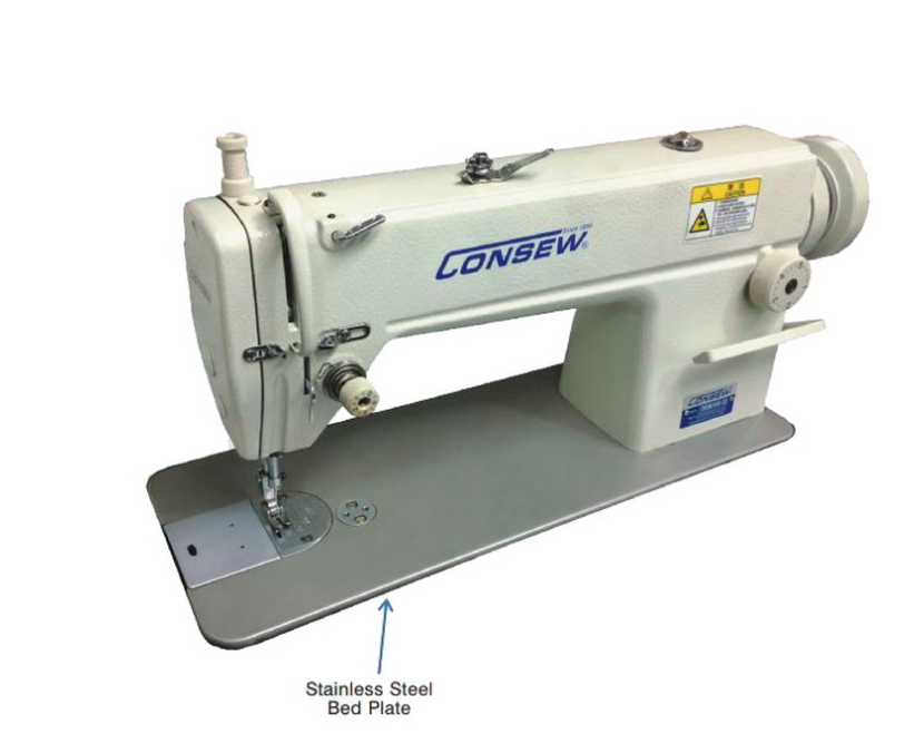 Consew 7360R-2SS Single Needle Lockstitch Sewing Machine with Assembled Table and Servo Motor