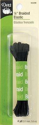 Elastic Black 1/8 inch braided 4 yards