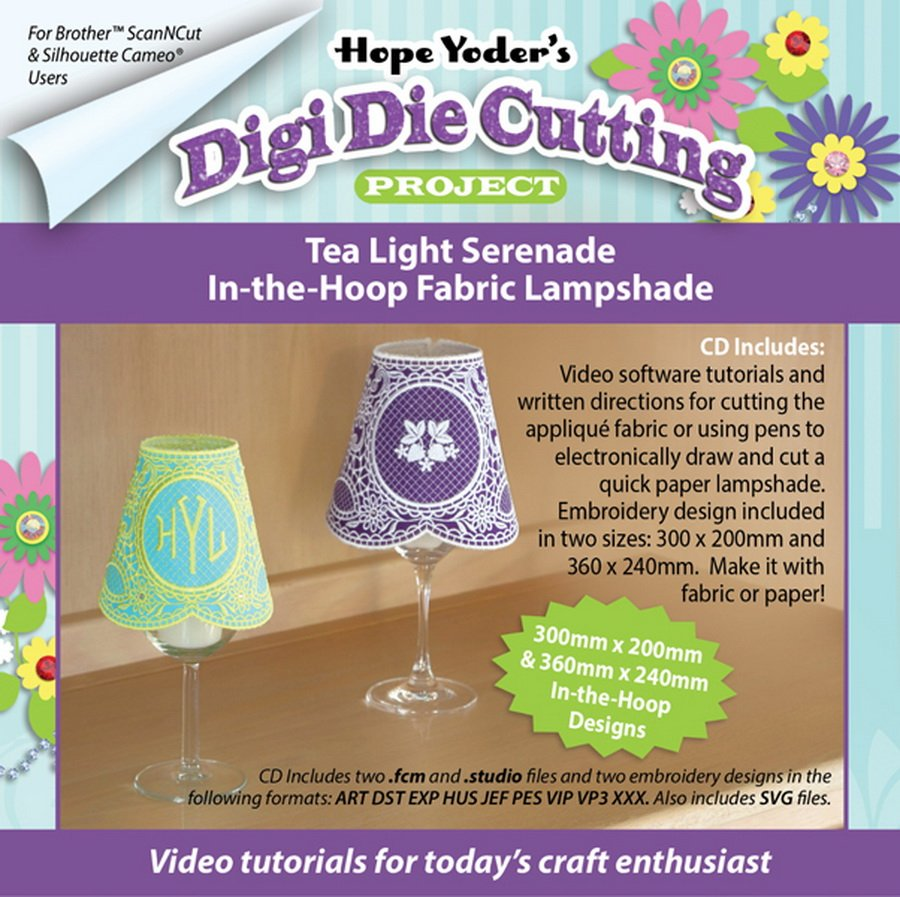 Digi Die Cutting Project Tea Light Serenade ITH Lampshade CD - Designs by Hope Yoder
