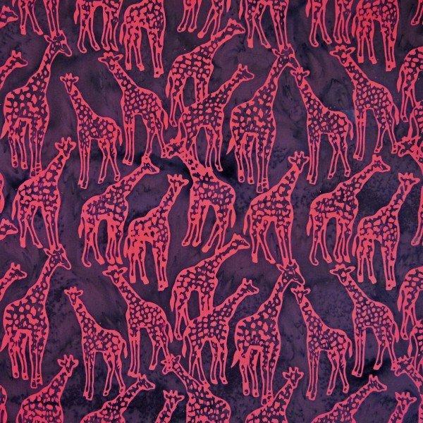 Batiks Chameleon Blue With Red Giraffes