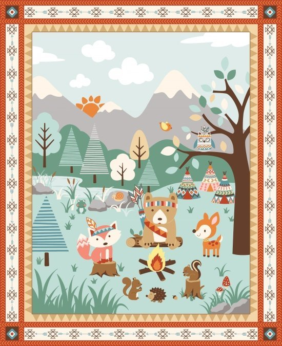 Camp Along Critters 1yd Panel