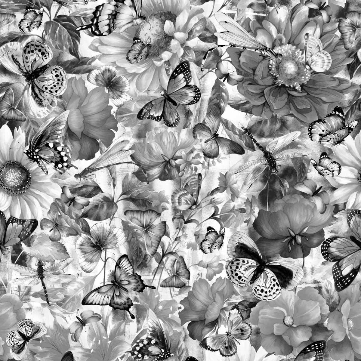 Fantasy Butterfly Floral Gray