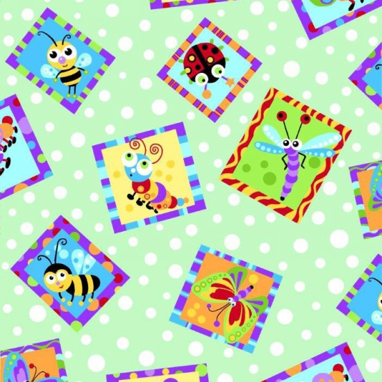 0779-66 Bugs & Green Dot Flannel