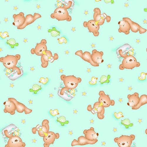 A. E. Nathan Co - Comfy Prints - Bears - Teal