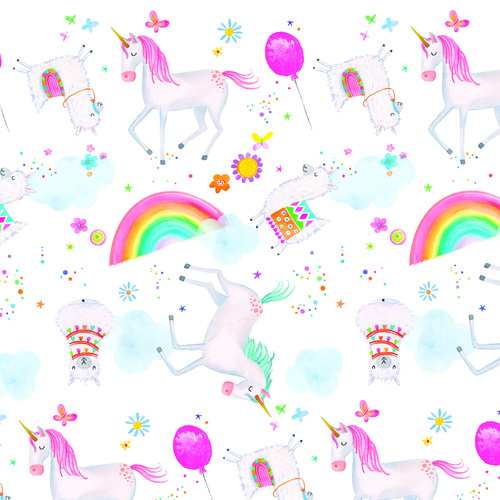 Comfy Flannel White Unicorns and Llamas N-0975-21