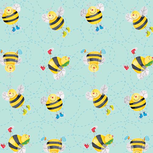 Comfy Prints Aqua Bees N-0978-11
