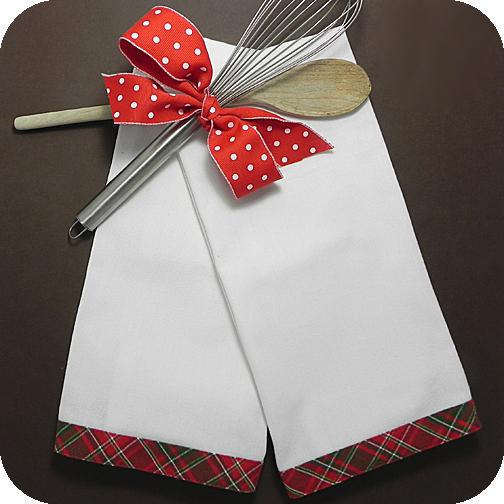 Holiday Plaid Trim Kitchen Towel