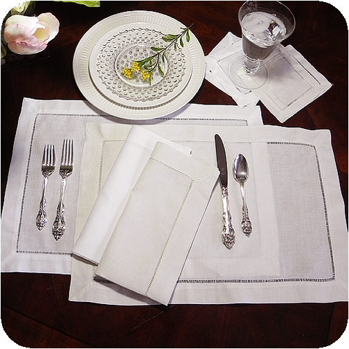 Hemstitched Placemats, Taupe