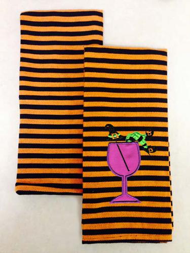Halloween Stripe Kitchen Towel, Orange & Black