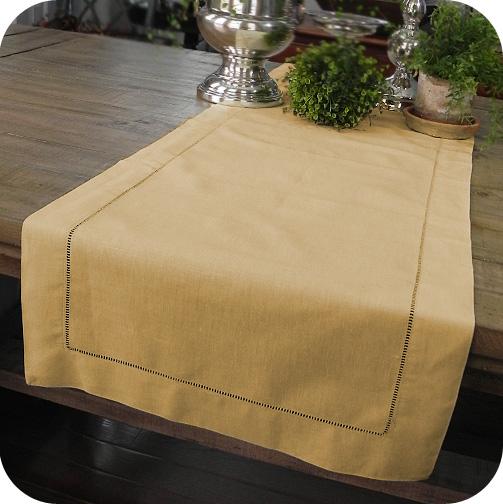 Taupe Solid Hemstitched Linen Tablerunner 180